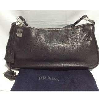 Authentic PRADA Leather Hobo Bag with padlock and keys