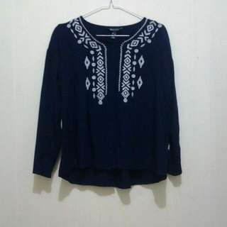 Remix Jeans Navy Blue Embroidery Blouse