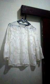 #horegajian blouse brokat putih