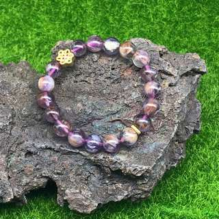 Amethyst Rutilated Quartz Bracelet 9.5mm Mothers day special