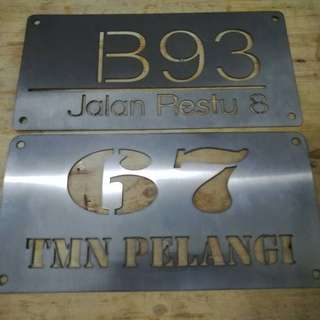 Stainless steel house plate CUSTOM MADE