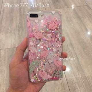 Pink flamingo glitter iPhone 7 Plus case