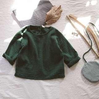 男女童水洗褶皺棉麻上衣+送圓圓格紋布包