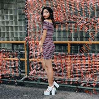 INSTOCK: REBEL LINE IT OFF SHOULDER DRESS