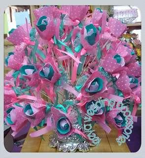 Bunga pahar pink + tiffany blue