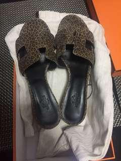 Authentic Hermes Oasis Sandale Leopard print