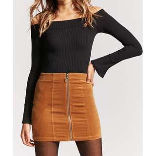 F21 Faux Suede Zip-front Skirt in Camel Size S