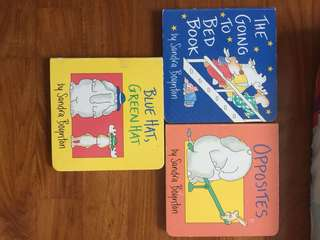 Board Books by Sandra Boynton :  Blue hat green hat , opposites, going to bed