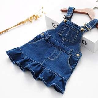 Girls denim strap skirt