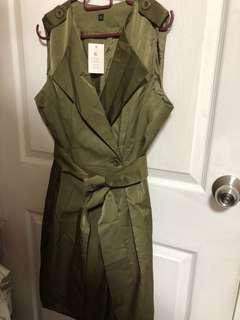 Army green sleeveless wrap dress