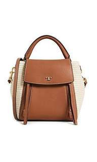 Tory Burch half moon straw Crossbody