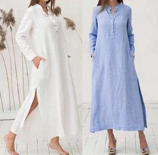 (S~5XL) Casual hem high loose retro dress collar long-sleeved cotton shirt dress