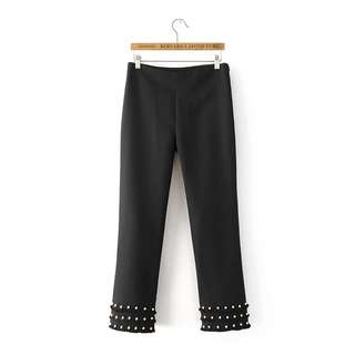 Straight cut pants with pearls
