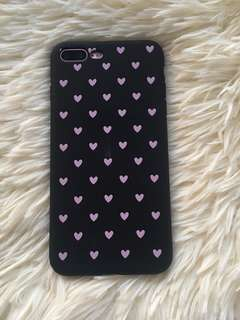 Iphone 7/8 plus heart matte black soft case