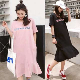 2018 loose large size long-sleeved short-sleeved t-shirt skirt women lotus leaf skirt pocket suit shirt dress Korean summer dress