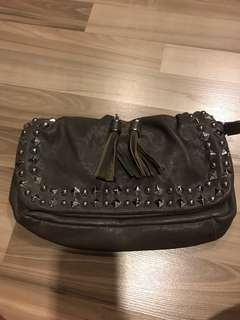 clearance! bn grey leather like bag worn 3 ways with studs
