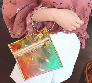Instock Holographic Hologram Clutch Bag Purse Wallet Phone Pouch
