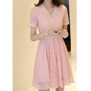BN V-neck Lace Dress in Blush
