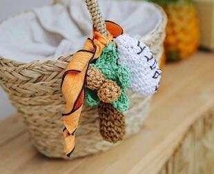 🚚 Candy w 日本海邊可愛椰樹手編吊墜草編沙灘包包