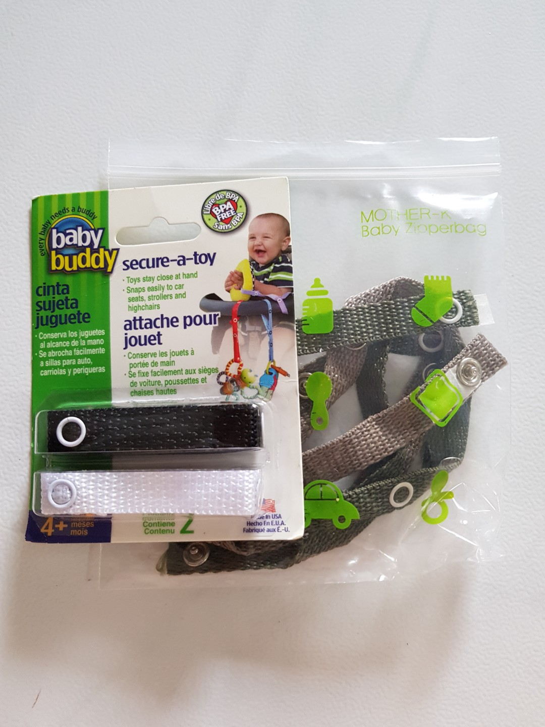 Teether Baby Buddy Secure-A-Toy or Pacifiers to Car Safety Strap Secures Toys