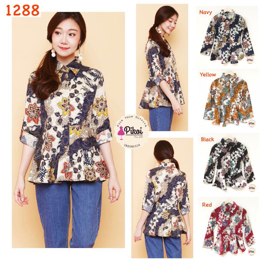 Baju Batik Wanita Modern Batik Kantor Kemeja Batik Peplum 76cdebe860