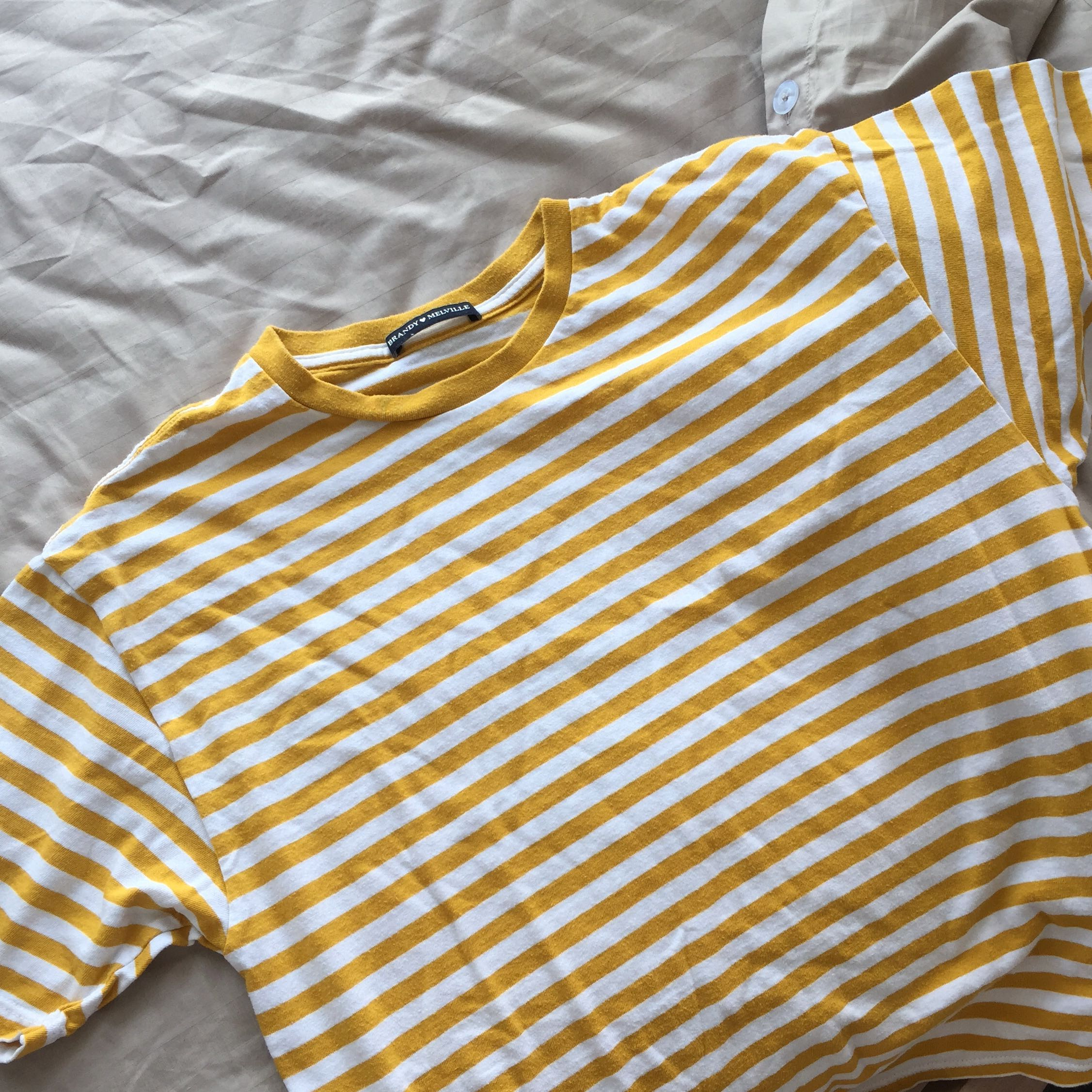 3bd6864fe0 brandy melville mustard striped aleena top, Women's Fashion, Clothes, Tops  on Carousell
