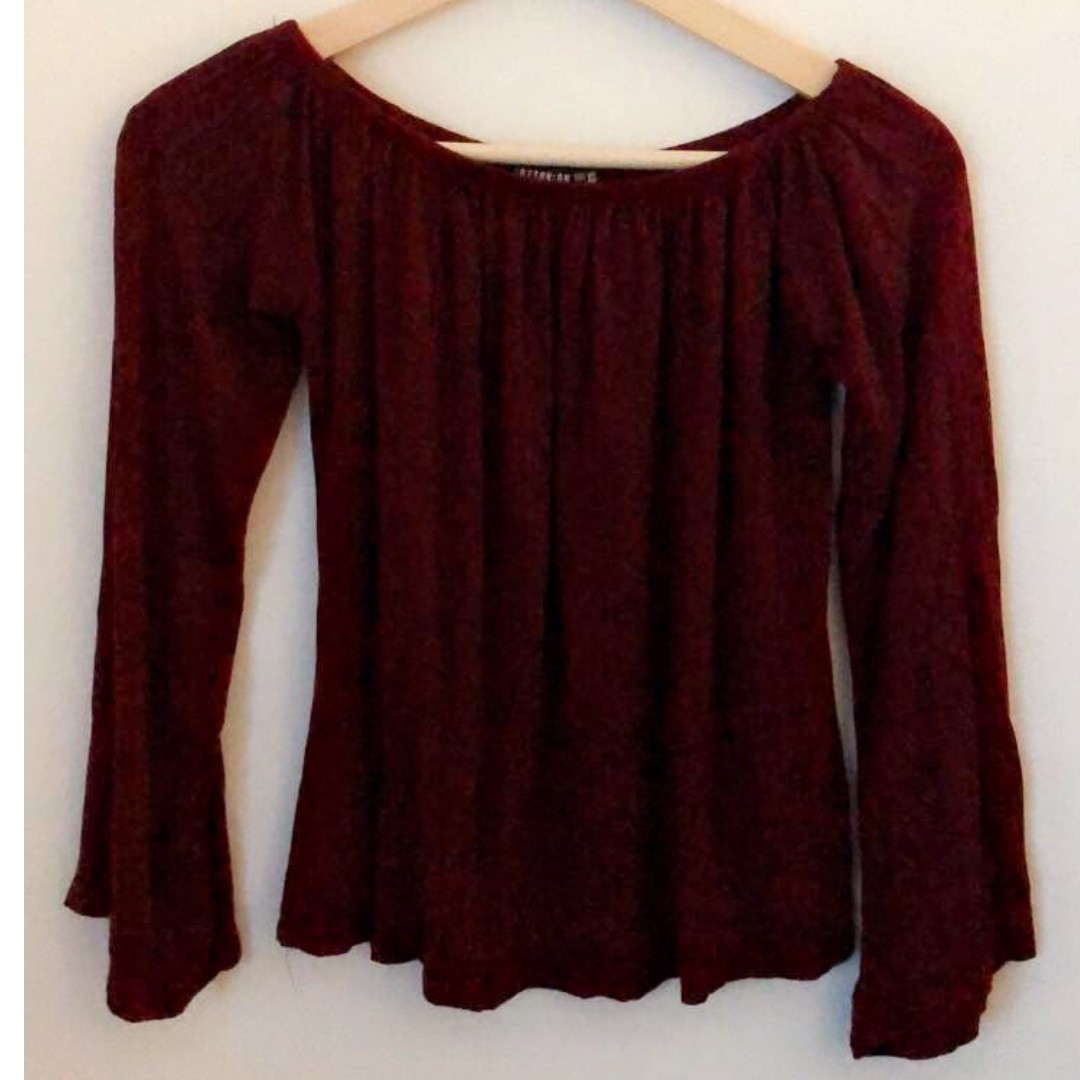6f0861f3ec7c8a COTTON ON Burgundy Off the Shoulder Top, Women's Fashion, Clothes ...