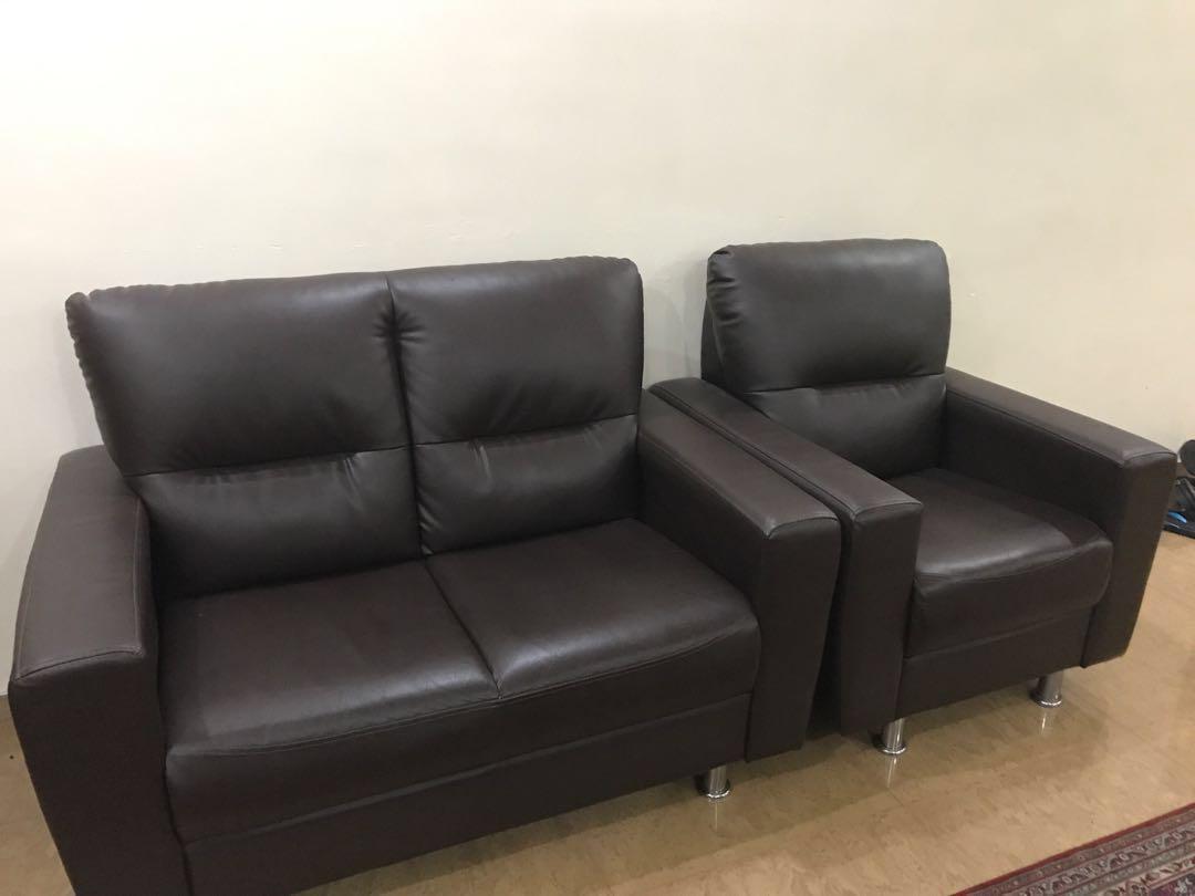 Dark brown leather 3 seater sofa set, Furniture, Sofas on Carousell