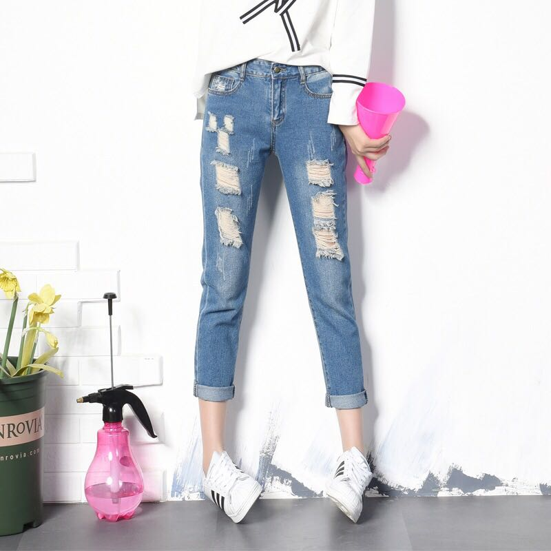 ae22169af69 Denim Blue Coloured Back Elastic Waist Ripped Jeans, Women's Fashion,  Clothes, Pants, Jeans & Shorts on Carousell
