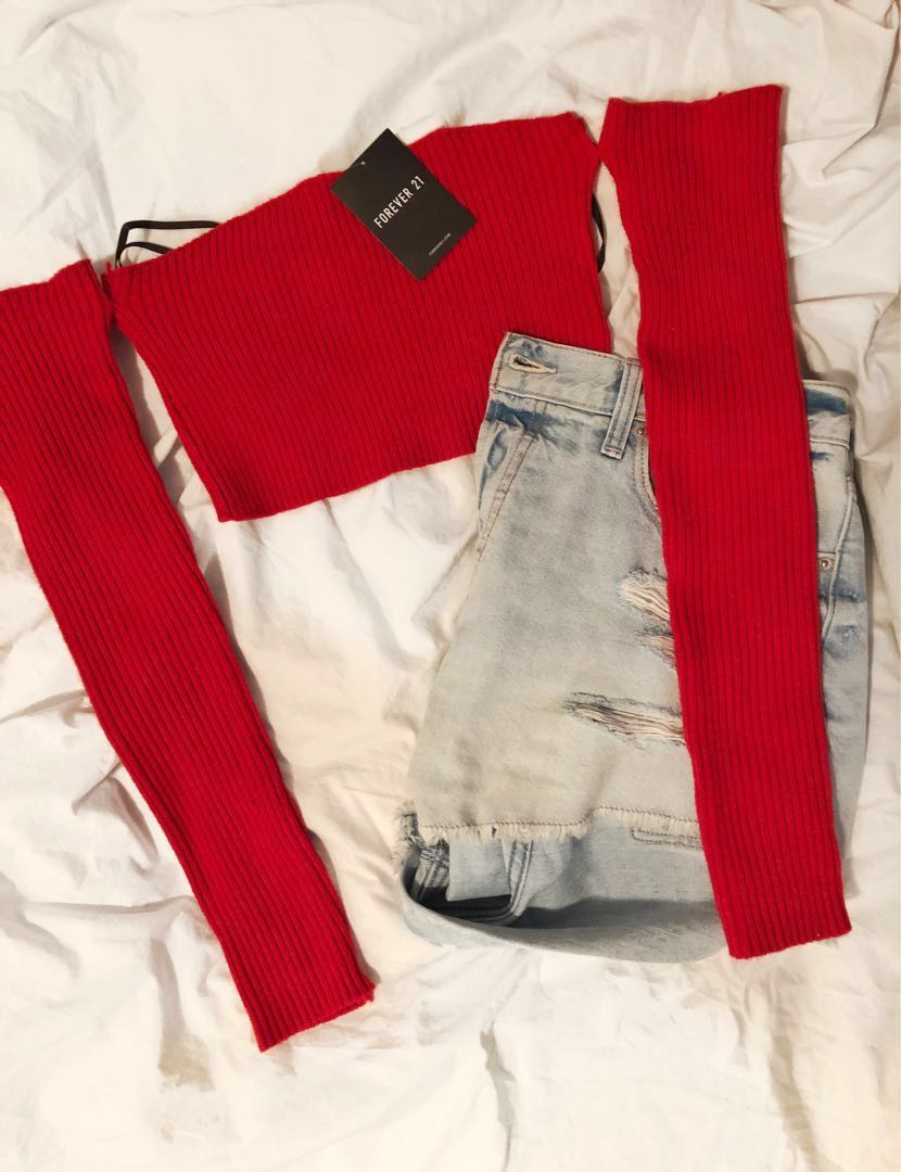 F21 - Red Off The Shoulder Ribbed Crop Sweater (Size: M)