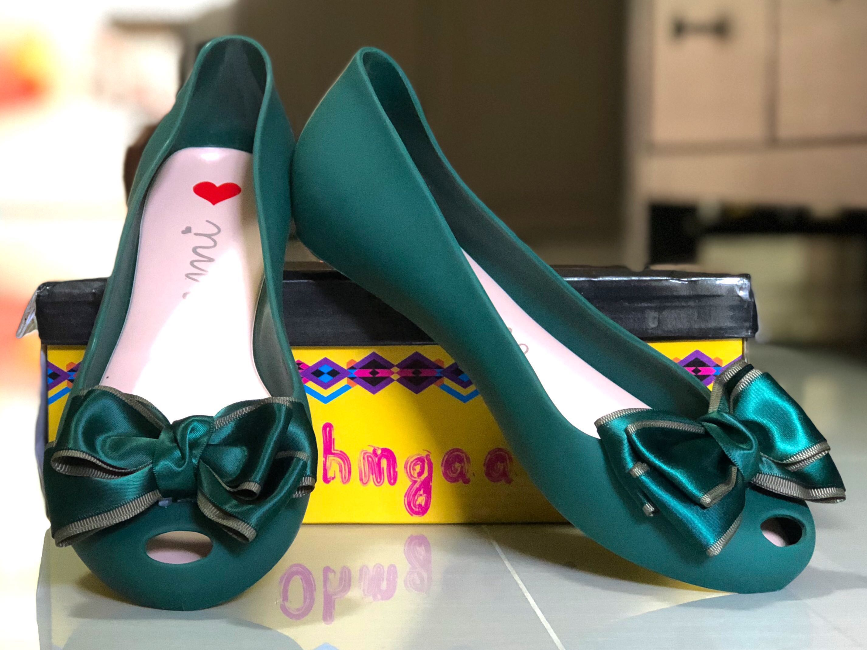 7c43cb63231c Forest Green Jelly Shoes with Satin Ribbon