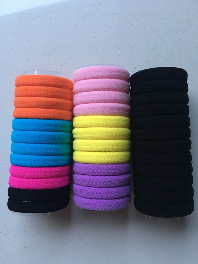 Free Mailing  Black and colourful Tangle-Free Hair Ties (12pcs per ... 9ef7bb4e1af
