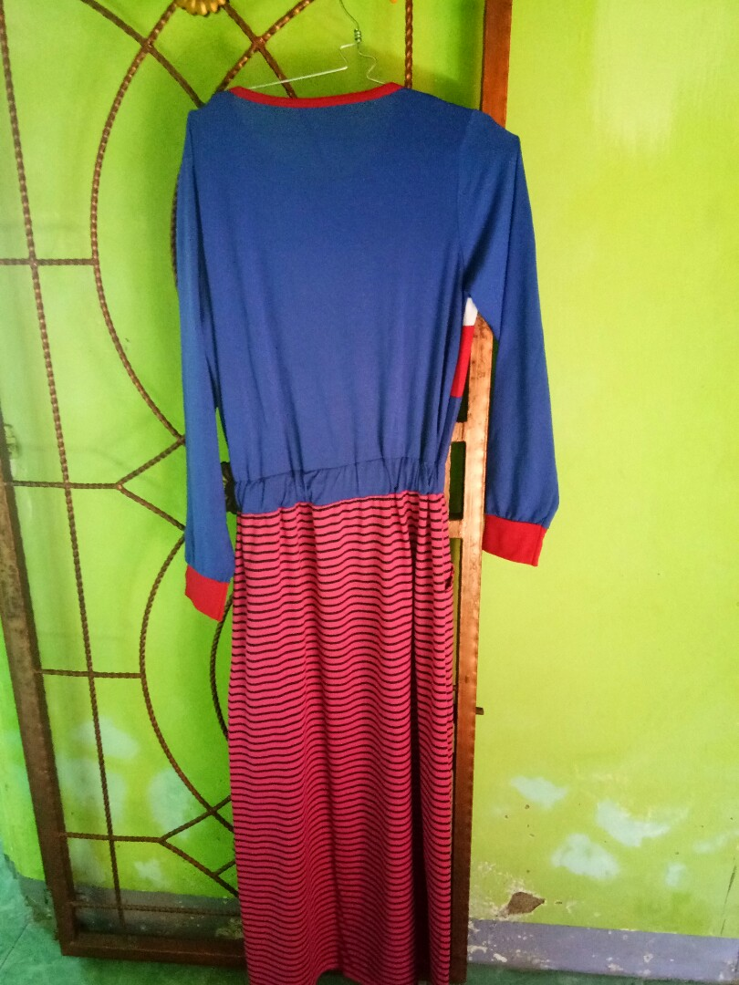 Gamis Preloved Bahan Kaos Combed Satin Katun Fesyen Wanita Muslim Fashion Di Carousell