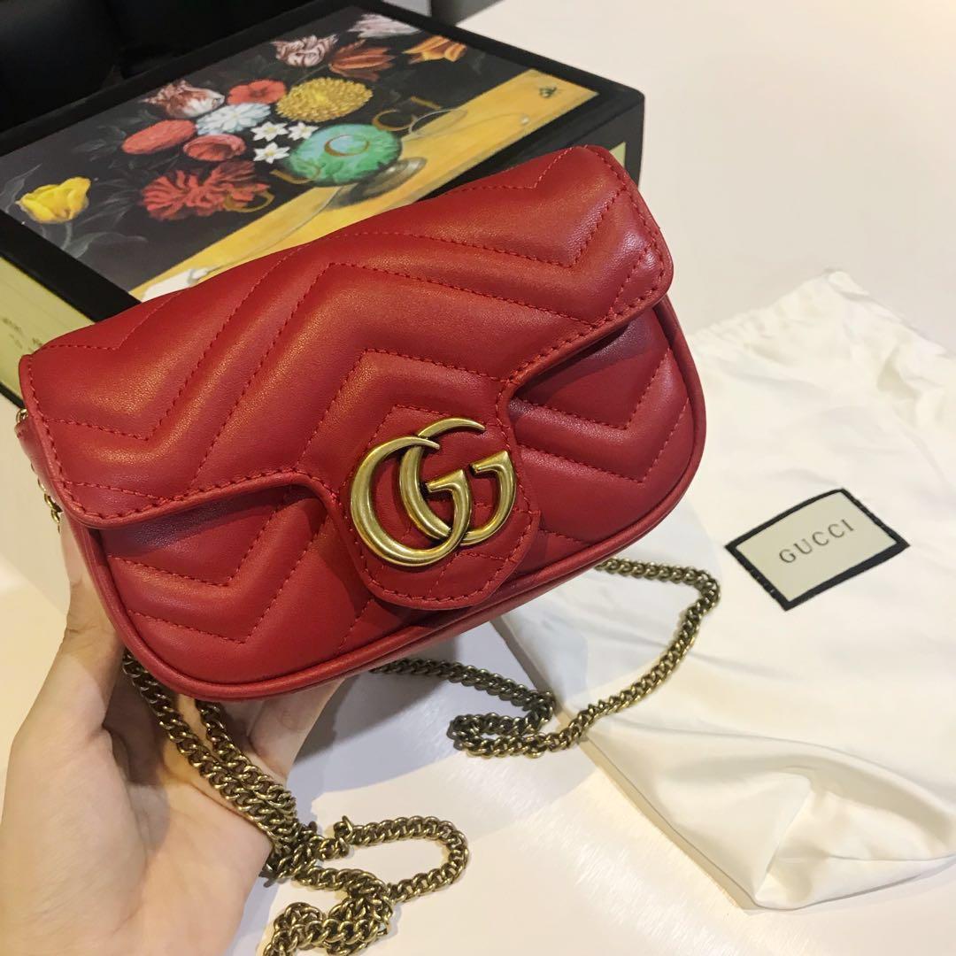 7cc69675aa08 Gucci GG Marmont matelassé leather super mini bag(original)