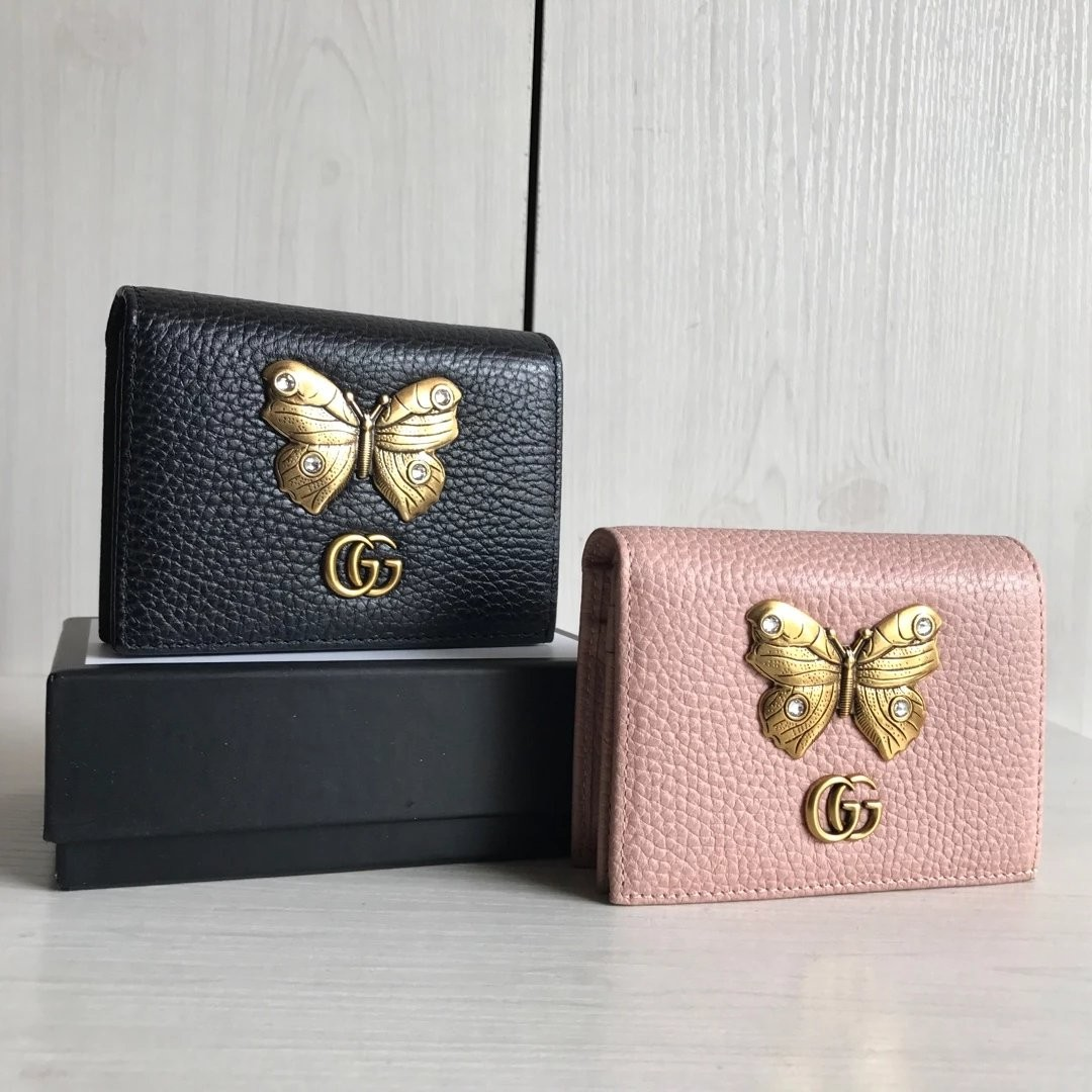 sneakers for cheap f02cf 6c29d Gucci Leather Card Case with Butterfly, Luxury, Bags & Wallets on ...