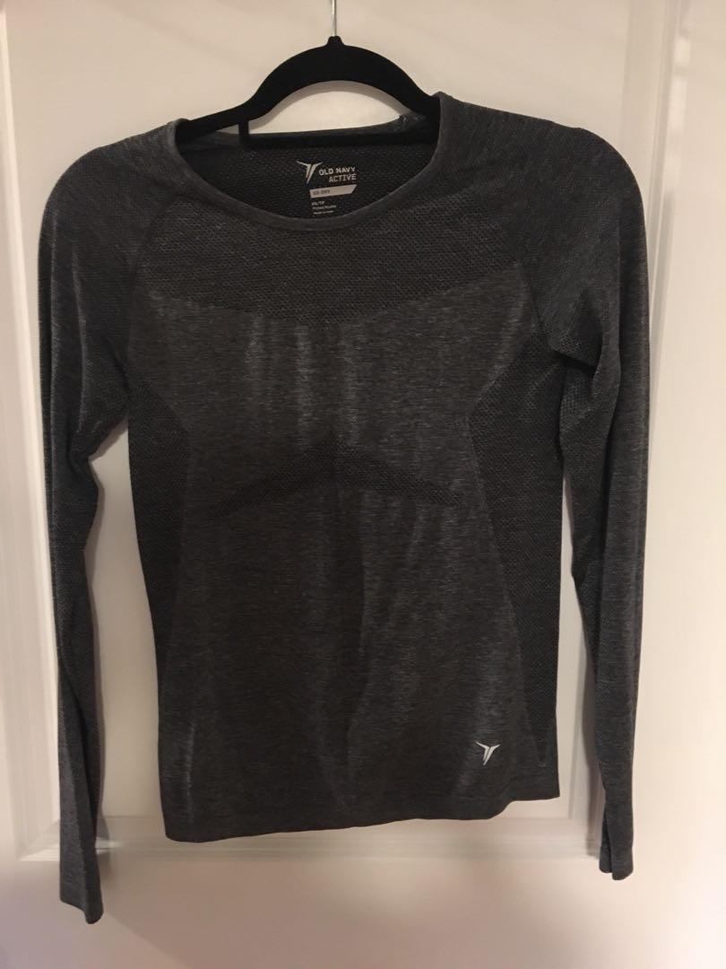 Long sleeve grey workout top