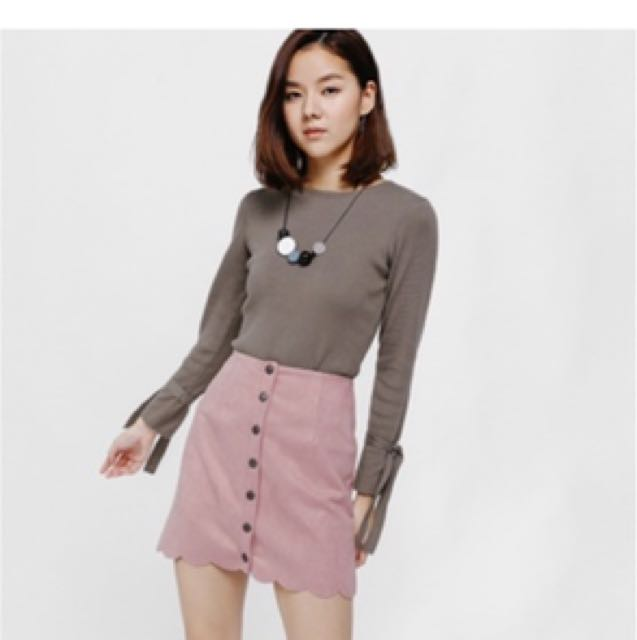 Love Bonito Sadriana Button Front Scallop Hem Suede Skirt 9989977c70