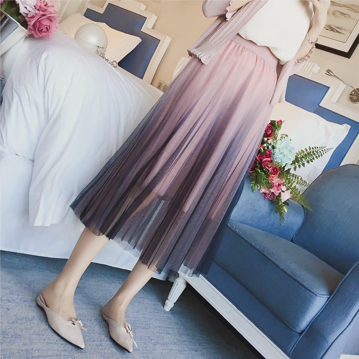 50e83054f Ombre Coloured Elastic Waist Designed Mesh Pleated Skirt, Women's ...