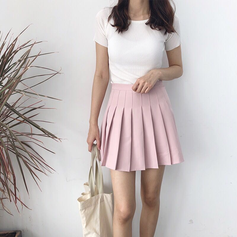 Pastel Coloured Pleated Designed Korean Style Highwaist Tennis Skirt ... 391627d57