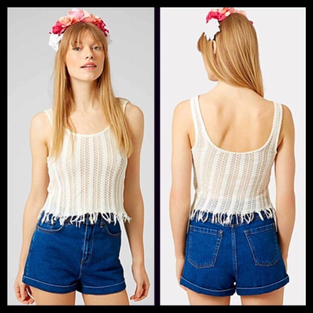 ef7dacdeb1641 Topshop Crochet Tank with Fringe detail Size 10, Women's Fashion ...