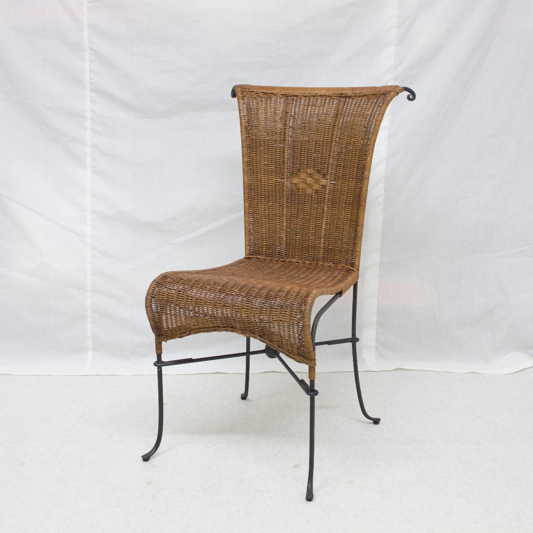 Vintage Rattan Wrought Iron Chairs