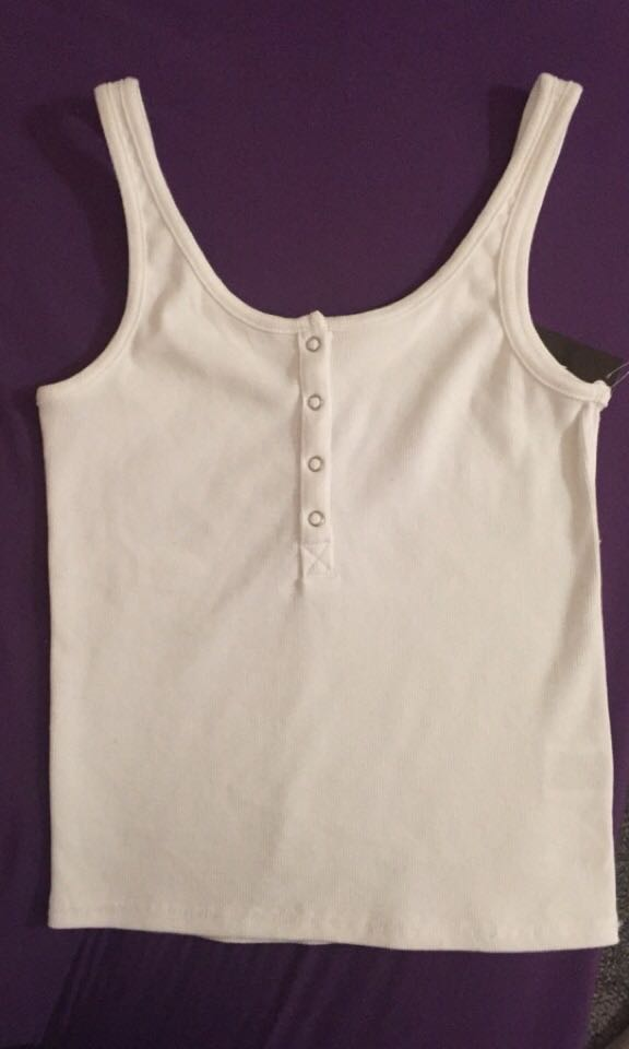 White buttoned up tank top