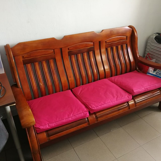 Wooden Sofa With Cushion Furniture