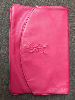 Authentic YSL leather clutch bag in pink