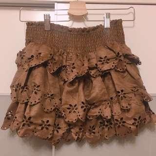 全新 麂皮雕花鬆緊蛋糕裙