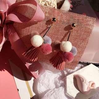 韓版秋冬毛絨絨毛線球耳環 長耳環流蘇粉色