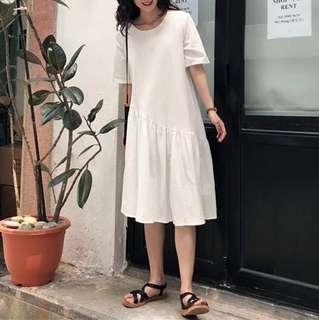(More cols) Cotton Slope Hem line Tee shirt Dress