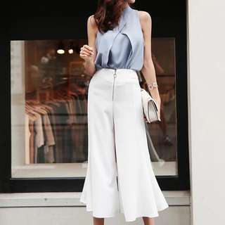 🔱 2 pc Cut in Overlay Blouse and Flare culottes Set