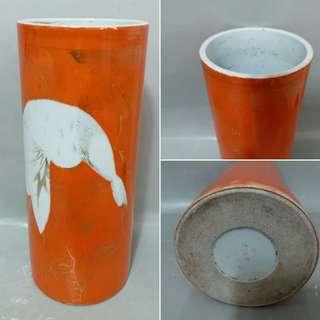 民國:珊瑚紅松鶴帽筒