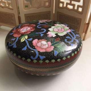 珍稀藏品 薔薇景泰藍掐絲琺瑯盒 擺飾收藏